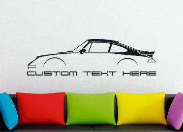 Large Custom car silhouette wall sticker - for Porsche 911 Turbo, 993 (1995–1998) air cooled classic